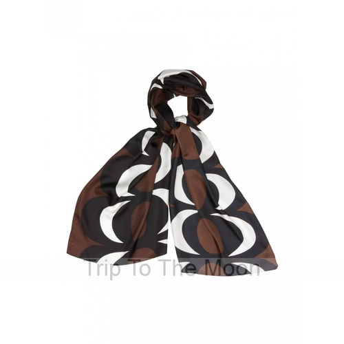Marimekko Silk Scarf Vampula Kaivo Brown/Black/White