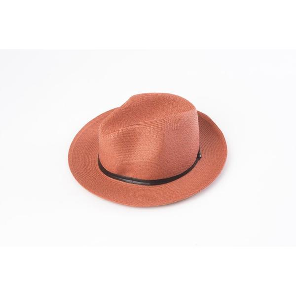 Borsalino Hat with Leather Strap Terracotta Size 58
