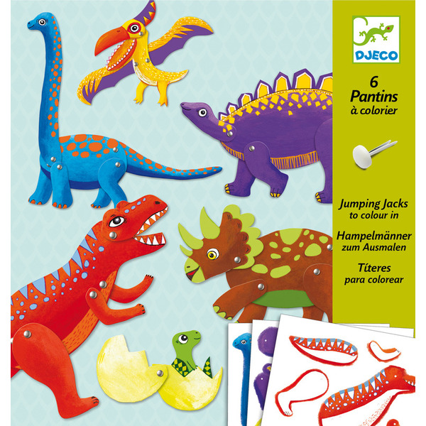 Djeco 6 Jumpin Jacks To Colour In Dino