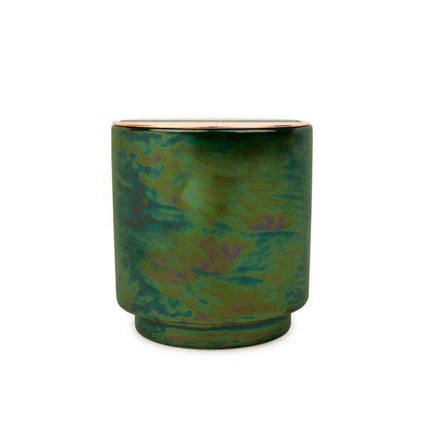 Paddywax Glow Emerald Iridescent Ceramic with Copper Lid Scented Candle- Balsam and Eucalyptus