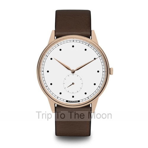 HyperGrand Signature Classic Brown Leather Rose Gold White