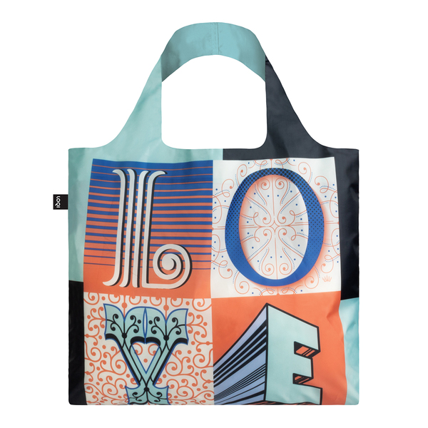 LOQI Reusable Shopping Bag Martina Flor Collection - Love