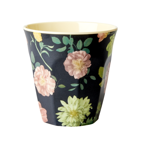 Rice Melamine Cup Dark Rose Print