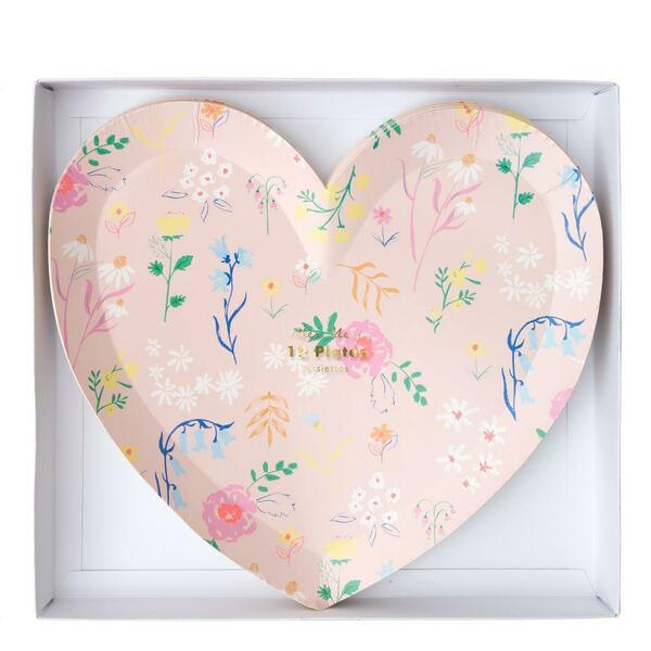 Meri Meri Wildflower Heart Plate Large Set of 12