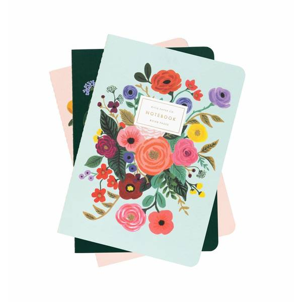 Rifle Paper Co. 3 Pack Stitched Notebooks Ruled Garden Party