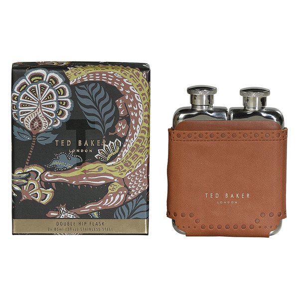 Ted Baker - Brown Brogue Double Hip Flask